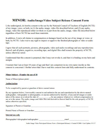 Photo Subject Release Consent Form