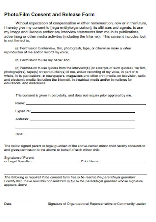 Photo and Film Consent and Release Form