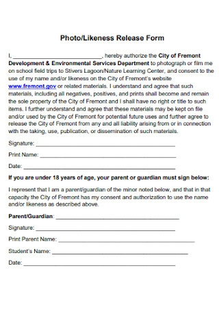 Photo and Likeness Release Form
