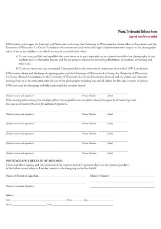 Photo and Testimonial Release Form Example