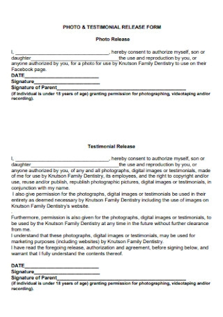 Photo and Testimonial Release Form
