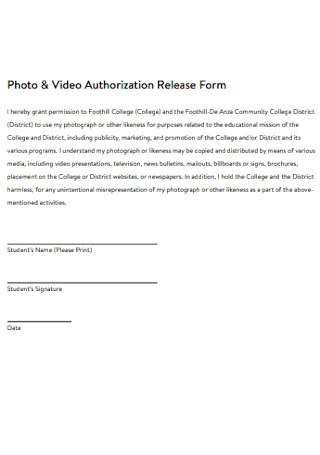 Photo and Video Authorization Release Form