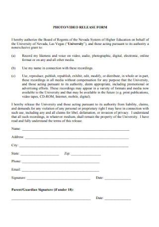 Photo and Vidio Release Form