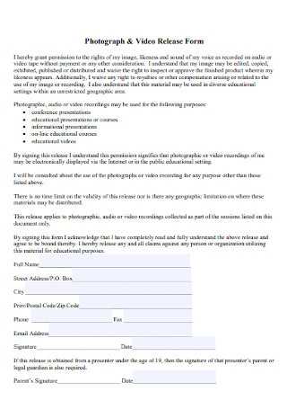 Photograph and Video Release Form