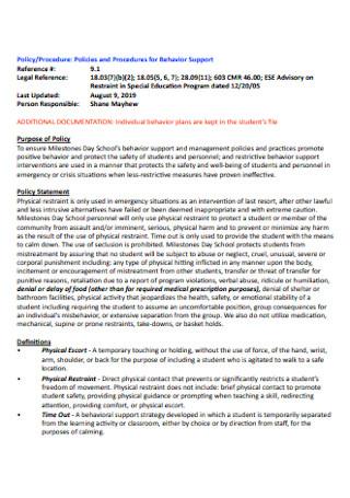 Policies and Procedures for Behavior Support