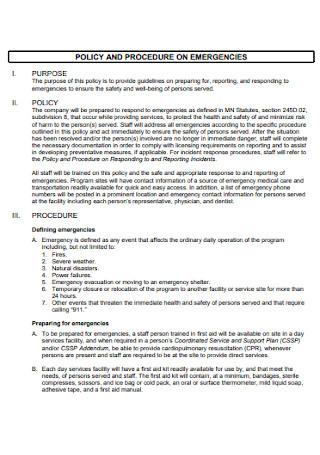 Policy and Procedure Emergencies