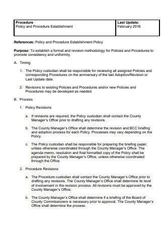 Policy and Procedure Establishment