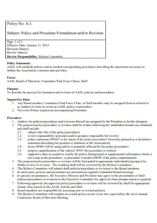 Policy and Procedure Formulation Template