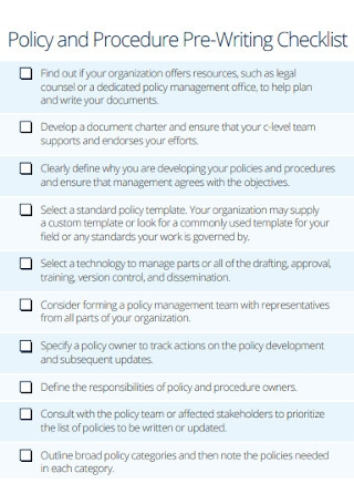 Policy and Procedure Pre Writing Checklist