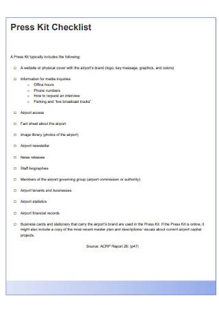Press Kit Checklist
