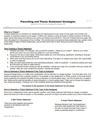 Prewriting and Thesis Statement