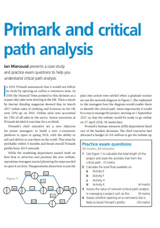 Primark and Critical Path Analysis
