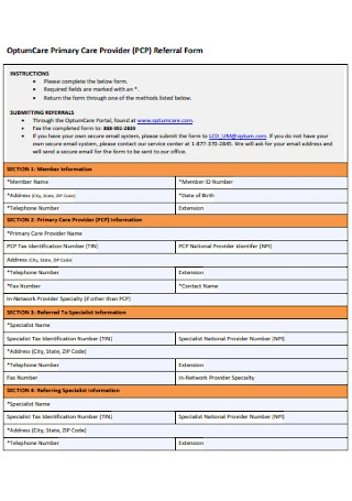 Primary Care Provider Referral Form