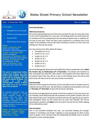 Primary School Newsletter Sample
