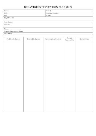 Printable Behavior Intervention Plan