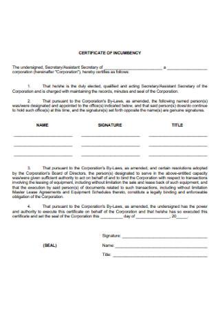 Printable Certificate of Incumbency