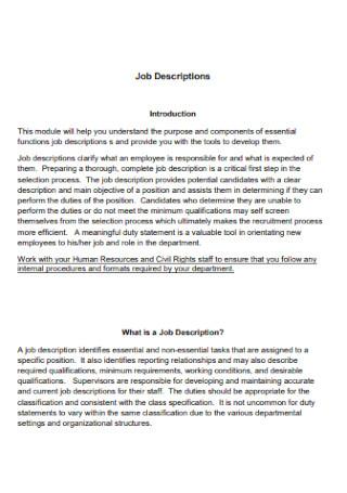Printable Job Description