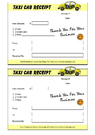 Printable Taxi Cab Receipts Template