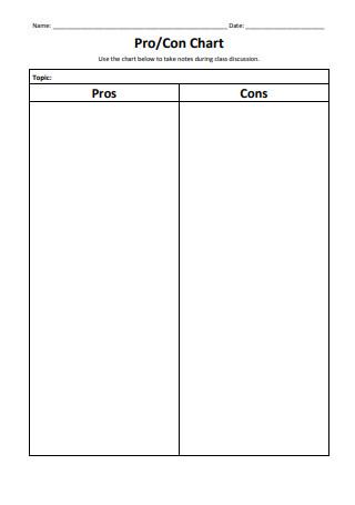 Pro Con Chart Template