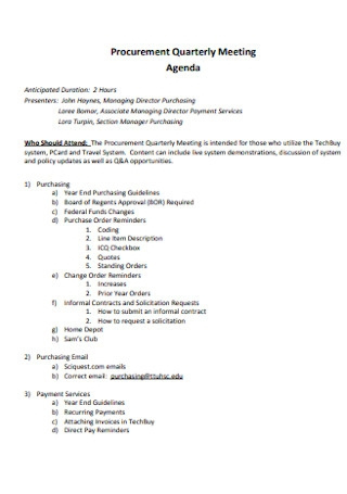 Procurement Quarterly Meeting Agenda