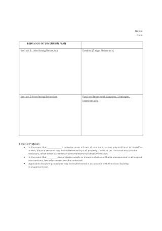Professional Behavior Intervention Plan