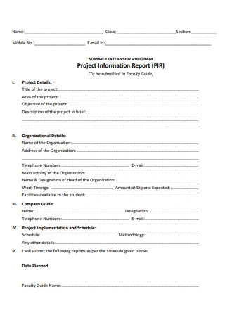 Project Information Report
