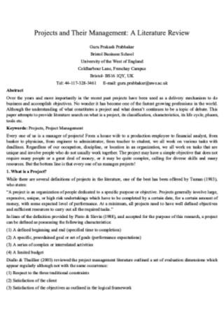Project Management Literature Review