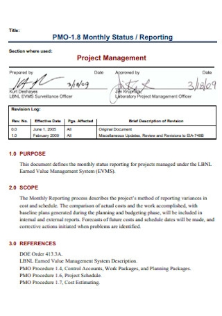 Project Management Status Report