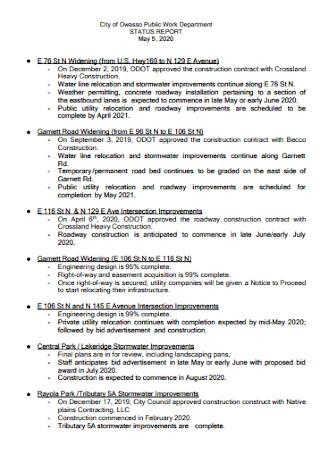 Project Work Status Report