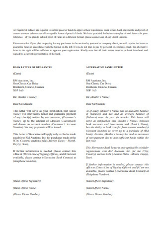 Proof of Funds Bank Letter