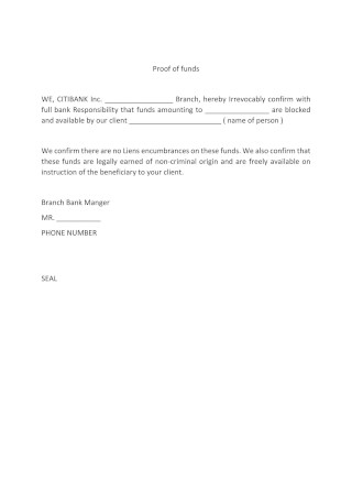 Proof of Funds Letter Form