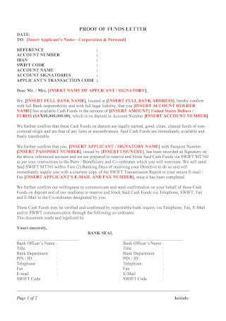Proof of Funds Letter Format