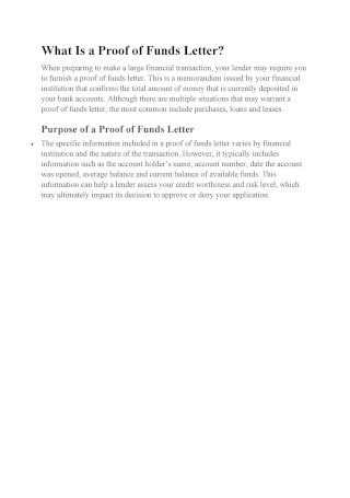 Proof of Funds Letter Guide