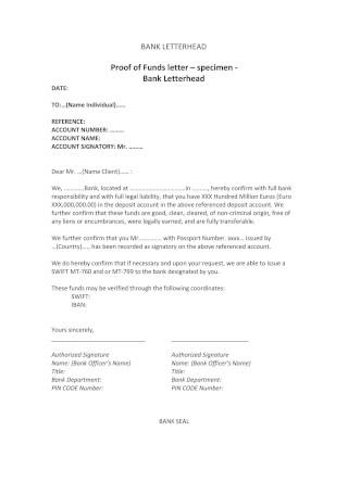 Proof of Funds Letter Specimen