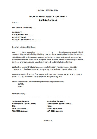 Proof of Funds Letter