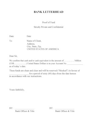 Proof of Funds Letterhead