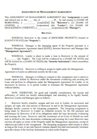 Property Assignment of Management Agreement