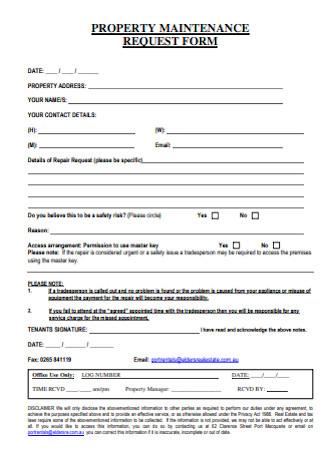 Property Maintenance Request Form
