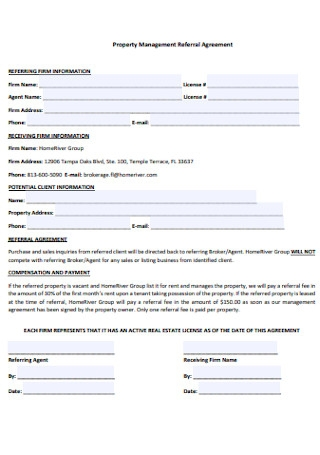 Property Management Referral Agreement