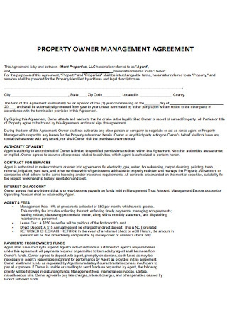 Property Owner Management Agreement
