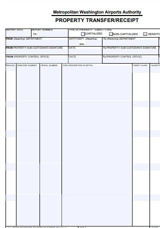 Property Transfer Receipt Sample