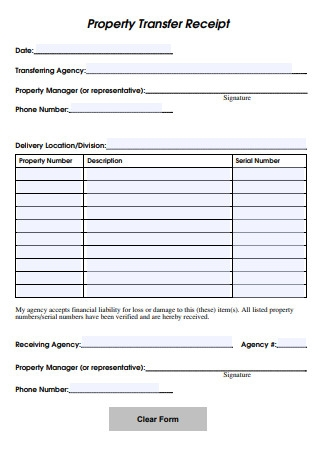Property Transfer Receipt