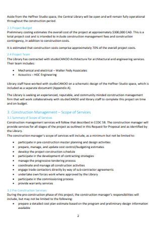 Proposal for Construction Management Services