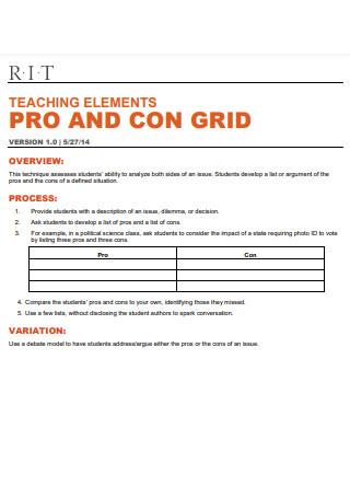 Pros Cons Grid