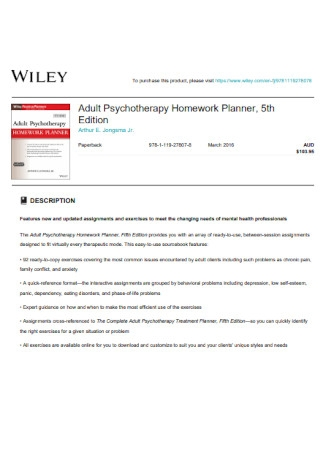 Psychotherapy Homework Planner