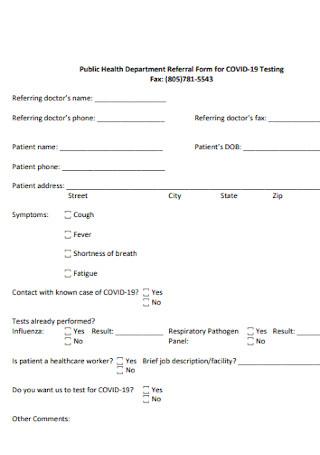 Public Health Department Referral Form