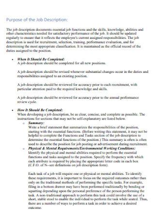 Purpose of the Job Description