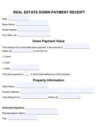 Real Estate Down Payment Receipt Template