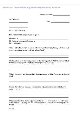 Reasonable Adjustment Request Letter