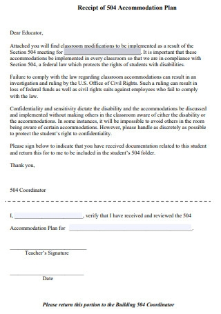 Receipt of 504 Accommodation Plan